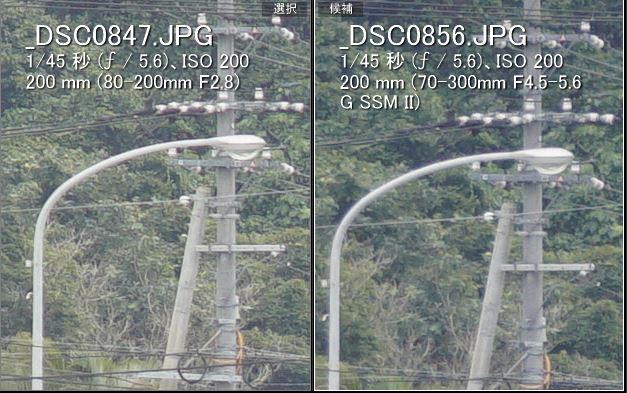 F5.6(左:ミノルタ80-200mm、右:ソニー70-300mm)