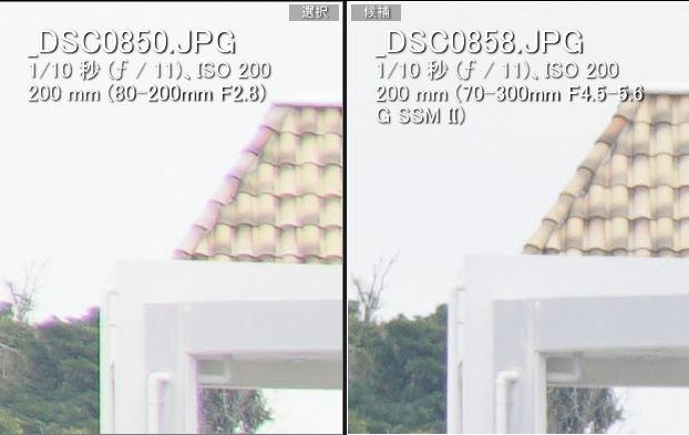 色収差の比較(左:ミノルタ80-200mm、右:ソニー70-300mm)
