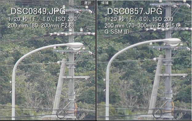 F8(左:ミノルタ80-200mm、右:ソニー70-300mm)
