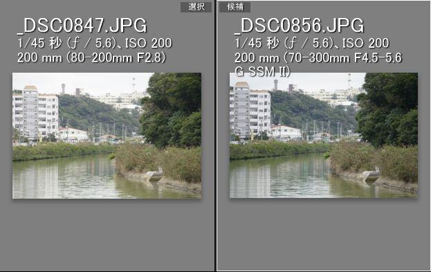 左:ミノルタ80-200mm、右:ソニー70-300mm